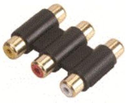 Imagen de PAQ. C/10 - STEREN - ADAPTADOR CON 3 CONECTORES HEMBRAS A 3 HEMBRAS RCA PARA AUDIO/VIDEO, ACABADO EN ORO