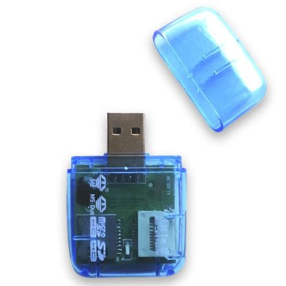 Imagen de PAQ. C/2 - DTC - B-ROBOTIX - LECTOR USB V2.0 MICRO SD TODO EN UNO AZUL TRANSLÚCIDO