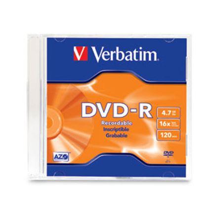 Imagen de PAQ. C/10 - VERBATIM - DVD-R 16X 4.7GB 120MIN GRABABLE CASE SLIM INDIVIDUAL VERBATIM