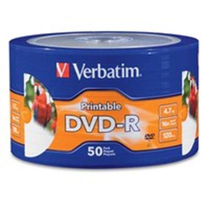 Imagen de VERBATIM - DVD-R 16X 4.7GB 120MIN GRABABLE IMPRIMIBLE HUB 50 PZAS CAMPANA