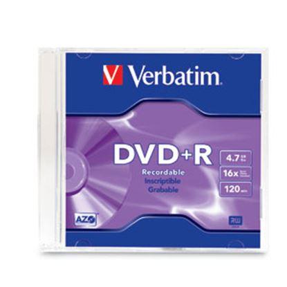 Imagen de PAQ. C/20 - VERBATIM - DVD+R 16X 4.7GB 120MIN GRABABLE CASE SLIM INDIVIDUAL VERBATIM