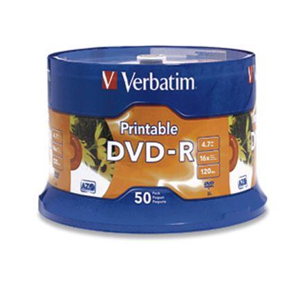 Imagen de VERBATIM - DVD-R 16X 4.7GB 120MIN GRABABLE IMPRIMIBLE 50 PZAS CAMPANA BLANCO