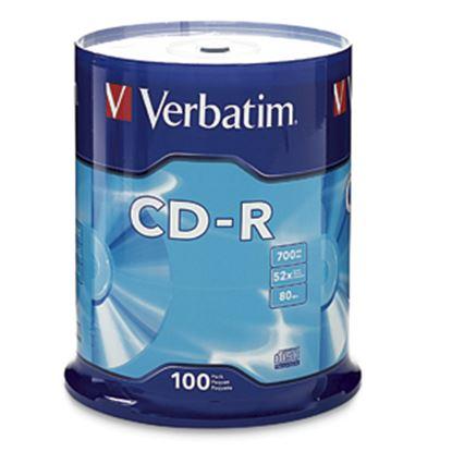 Imagen de VERBATIM - CD-R 52X 700MB 80MIN GRABABLE 100 PZAS CAMPANA VERBATIM