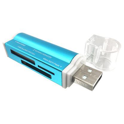 Imagen de PAQ. C/3 - DTC - B-ROBOTIX - LECTOR USB V2.0 TODO EN UNO METALICO AZUL