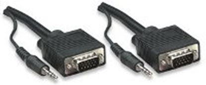 Imagen de MANHATTAN - CABLE MONITOR SVGA 8MM HD15M-M 10.0M+AUD