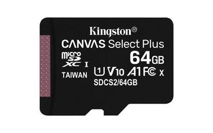 Imagen de PAQ. C/2 - KINGSTON - MICRO SDXC KINGSTON 64GB CANVAS SELECT PLUS 100R A1 C10 CARD + ADP