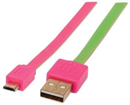 Imagen de PAQ. C/10 - IC - CABLE USB V2 A-MICRO B BLISTER PLANO 1.0M ROSA/VERDE.