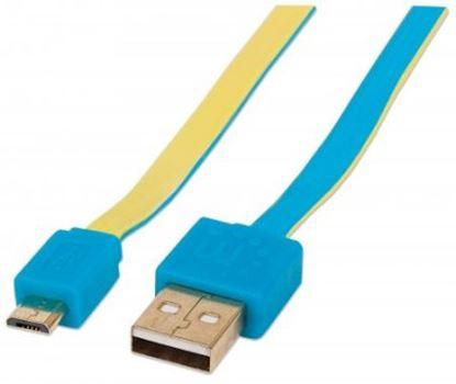 Imagen de PAQ. C/10 - IC - CABLE USB V2 A-MICRO B BLISTER PLANO 1.8M AZUL/AMARILLO.
