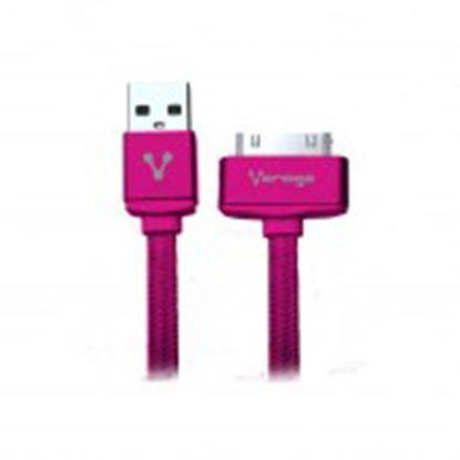 Imagen de PAQ. C/10 - VORAGO - CABLE VORAGO CAB-118 USB-APPLE DOCK 1 METRO ROSA BOLSA