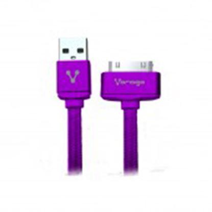 Imagen de PAQ. C/10 - VORAGO - CABLE VORAGO CAB-118 USB-APPLE DOCK 1 METRO MORADO BOLSA