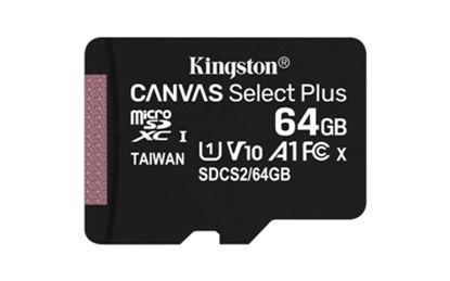 Imagen de PAQ. C/2 - KINGSTON - MICRO SDXC KINGSTON 64GB CANVAS SELECT PLUS 100R A1 C10 CARD - ADP