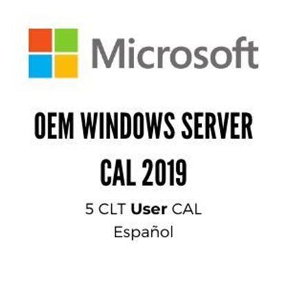 Imagen de MICROSOFT - OEM WINDOWS SERVER CAL 2019 SPA 1PK DSP OEI 5 CLT USER CAL