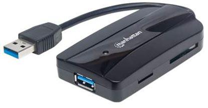 Imagen de MANHATTAN - HUB USB V3.0  3 PTOS + LECTOR SD/MICRO SD