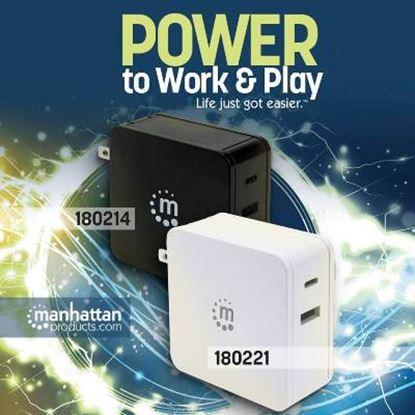 Imagen de MANHATTAN - FUENTE DE PODER UNIV. PD  60W USB-C+ 2.4 A USB-A
